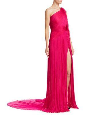 Pamella Roland Fuschia Pleated One-shoulder Gown