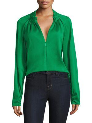 Tibi Easy Shirred Neck Zip Top
