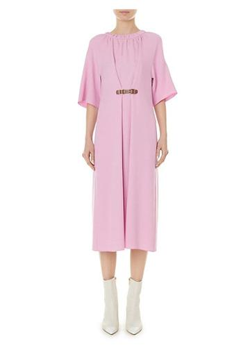 Tibi Mica Crepe Shirred Neck Midi Dress