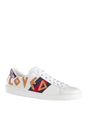 Gucci Men's New Ace Loved Leather Sneakers