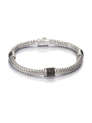 John Hardy Classic Chain Black Sapphire & Sterling Silver Four-station Bracelet