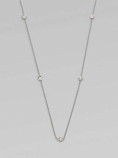Roberto Coin 18k White Gold Diamond Station Necklace