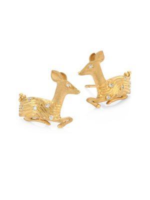 Temple St. Clair Deer Diamond & 18k Yellow Gold Stud Earrings