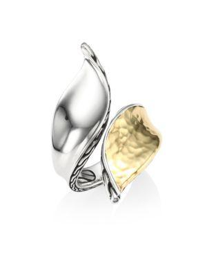 John Hardy Classic Chain Hammered 18k Gold & Silver Bypass Ring