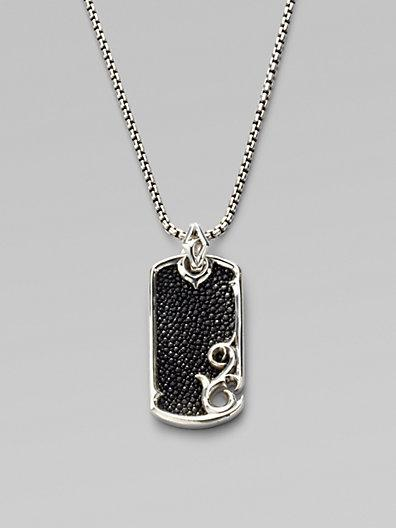 Stephen Webster Leather & Silver Dogtag Necklace