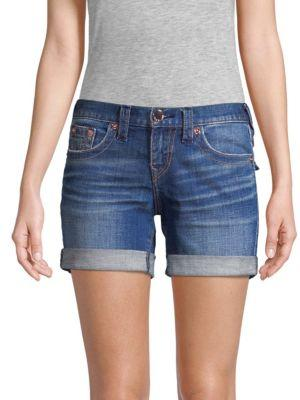 True Religion Jayde Mid-rise Rolled Bermuda Shorts