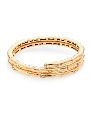 John Hardy Bamboo 18k Yellow Gold Double Coil Bracelet