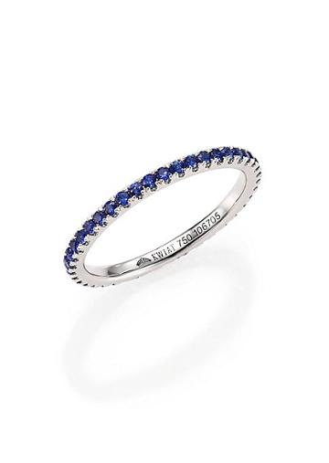 Kwiat Sapphire & 18k White Gold Eternity Stacking Ring