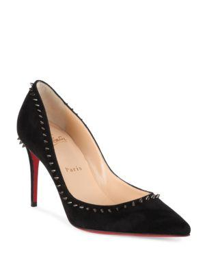 Christian Louboutin Anjalina Spiked Suede Point Toe Pumps