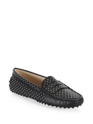 Tod's Gommini Micro Borchi Leather Loafers