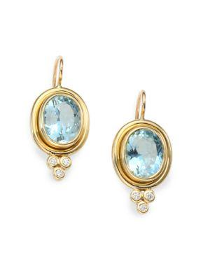 Temple St. Clair Classic Color Aquamarine, Diamond & 18k Yellow Gold Oval Drop Earrings