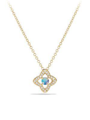 David Yurman Venetian Quatrefoil Pendant Necklace With Opal And Diamonds In 18k Gold