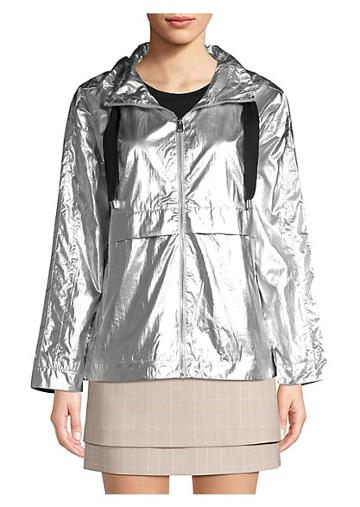 Maje Short Metallic Waterproof Coat