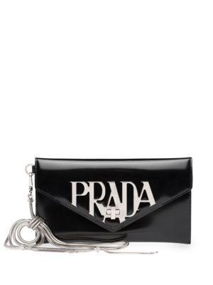 Prada Spazzolato Leather Wristlet