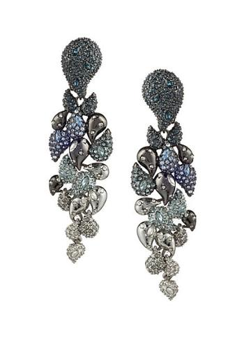 Alexis Bittar Crystal Encrusted Ombre Paisley Clip Earrings