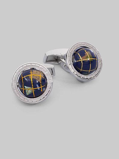 Tateossian Sterling Silver Globe Cuff Links