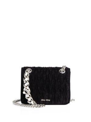 Miu Miu Matelasse Velvet Chain Shoulder Bag