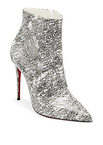 Christian Louboutin So Kate 100 Calligraphy Print Leather Booties
