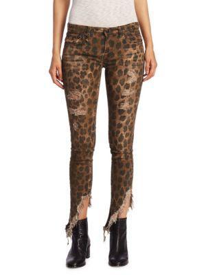 R13 Kate Leopard Angled Shredded Hem Skinny Jeans