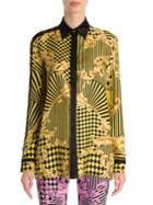 Versace Long-sleeve Print Silk Blouse