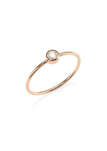 Ginette Ny Lonely Diamond 14k Rose Gold Ring