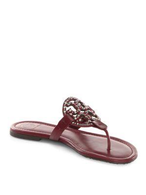 Tory Burch Miller Embellished Flip Flops