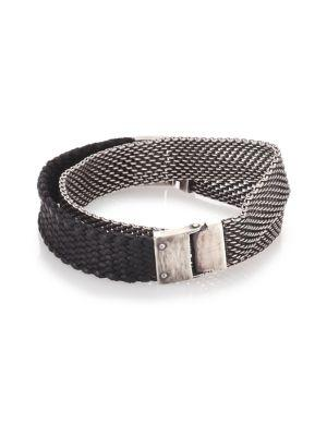 Title Of Work Sterling Silver & Braided Leather Wrap Bracelet