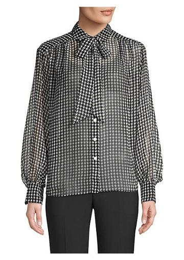 Kate Spade New York Tie-neck Houndstooth Chiffon Button-down Blouse