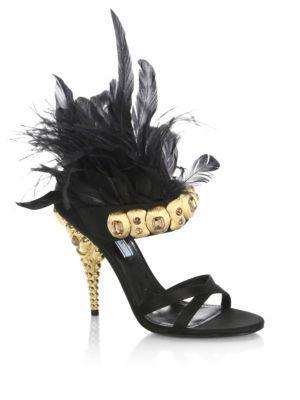 Prada Jeweled Feather-trim Satin Sandals