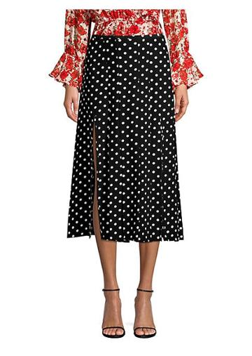 Rixo Georgia Pearl Spot Silk Midi Skirt