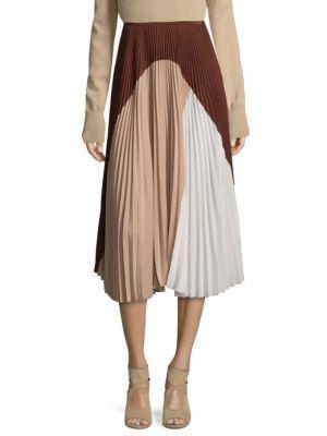 Agnona Silk Colorblock Skirt