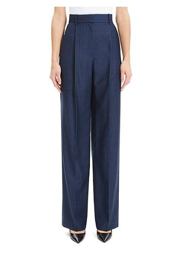 Theory Wool High-rise Stripe Pleated Trousers