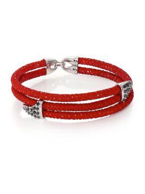 Stinghd Black Diamond, Silver & Stingray Shark Fin Wrap Bracelet