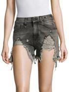 R13 Slouchy Distressed Denim Shorts