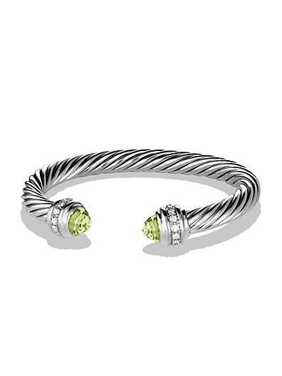 David Yurman Cable Classics Bracelet With Prasiolite And Diamonds