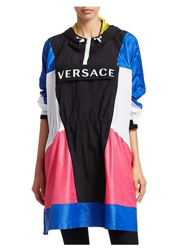 Versace Long-sleeve Logo Colorblock Poncho