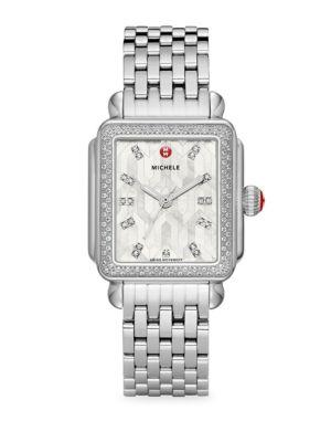 Michele Watches Deco Mosaic White Mother-of-pearl, Diamond & Stainless Steel Bracelet Watch