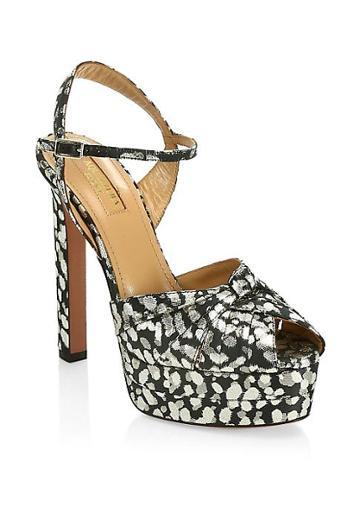 Aquazzura Evita Plateau Printed Platform Sandals