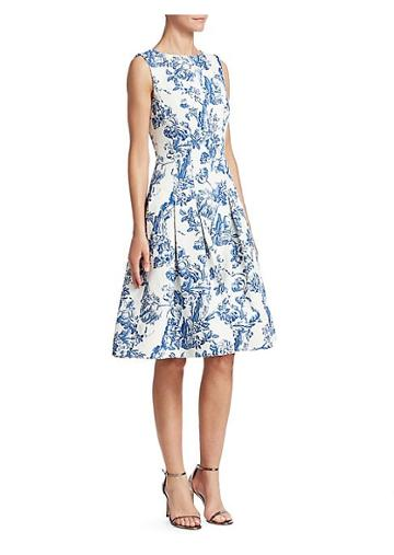 Oscar De La Renta Sleeveless Toile Du Joie Skirt Dress