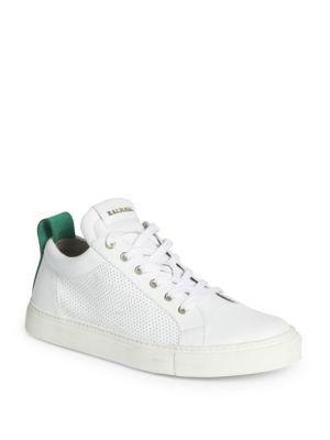Balmain Perforated Calf Leather Low-top Sneakers