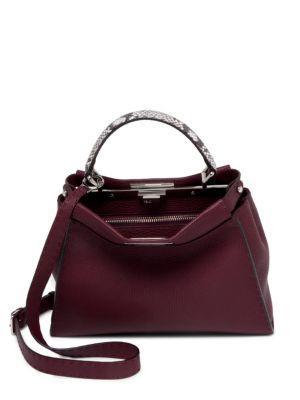 Fendi Selleria Peekaboo Regular Python & Leather Handbag