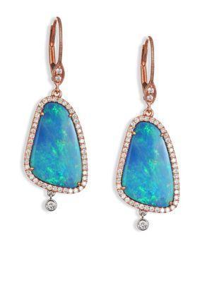 Meira T Opal, Diamond, 14k Rose & White Gold Drop Earrings