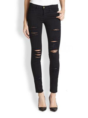Frame Denim Le Color Rip Skinny Jeans