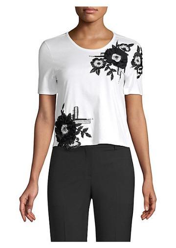 Josie Natori Embroidered Stretch Cotton T-shirt