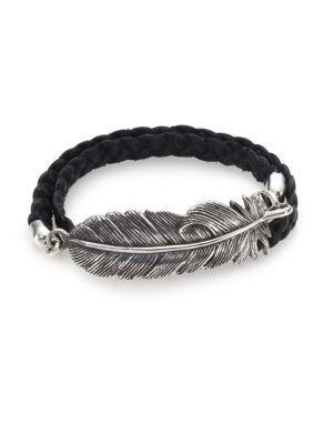 King Baby Studio Double-wrap Raven Feather & Leather Bracelet