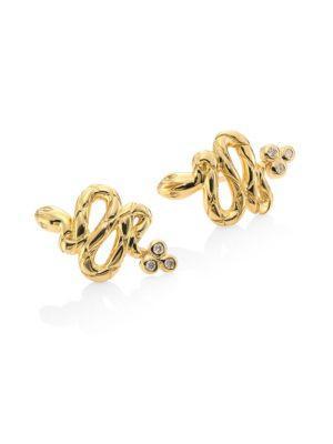 Temple St. Clair Serpent Diamond & 18k Yellow Gold Stud Earrings