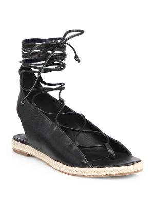 Tibi Camilo Leather Lace-up Espadrille Sandals
