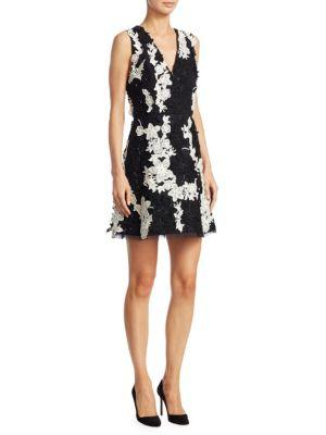 Alice + Olivia Pamela Floral Mini A-line Dress