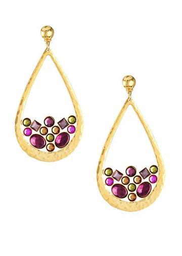 Gas Bijoux Byzance 24k Goldplated & Beaded Teardrop Earrings
