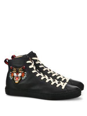 Gucci Major Tiger Ufo Embroidered Leather High-top Sneakers
